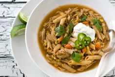 Gluten Free Mexican Chicken Noodle Soup Recipe Soups with gluten-free penne, olive oil, purple onion, carrots, garlic cloves, jalapeno chilies, chili powder, ground cumin, kosher salt, ground black pepper, gluten-free chicken stock, cooked chicken, corn kernels