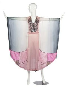 Vintage Fashion: A Thea Porter Couture Pink and Grey Ombre Silk Chiffon dress