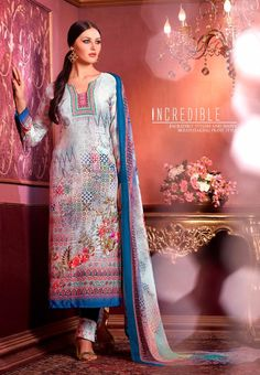 #Vaishali Digital Delight Print #Crepe #SalwarKameez Suit 1007 #White
