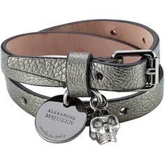 Alexander McQueen Embellished Leather Wrap Bracelet (€230) ❤ liked on Polyvore featuring jewelry, bracelets, black, silver, wrap bracelet, alexander mcqueen jewelry, skull bangle, leather bangles and metallic jewelry