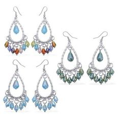 Set of 3 - Blue Glass, Green Glass and Multi Colour Glass Hook Earrings in Stainless Steel