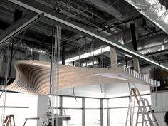 Functional wooden ceiling suspending from the roof slab. Image by dECOi Architects, Director Mark Goulthorpe, Project Architect Raphael Crespin. Wooden Ceilings, Office Interiors, Maine, Boston, Interior Design, Architecture, Building, Ceiling, Interior Design Studio