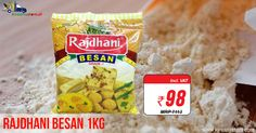 Get Great Deals on #Rajdhani #Besan 1Kg @ Rs. 98/- Only from Kiraanastore. Free Shipping & Quick Home Delivery. Buy Now!!