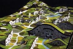 Solarpunk Aesthetic – The Future is Bright! Friedensreich Hundertwasser, Sustainable Architecture, Landscape Architecture, Architecture Models, Roofing Options, Landscape Model, Fantasy Landscape, Residential Roofing, Arch Model