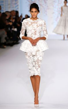 Ralph & Russo from Paris Fashion Week Haute Couture | Lace peplum dress