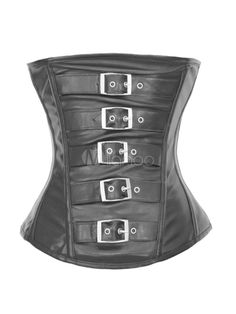 Sexy Black Buckled Gothic Faux Leather Cincher $19.99 AT vintagedancer.com