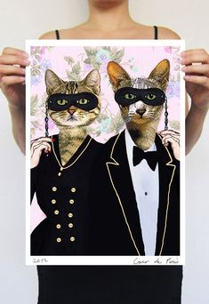 Party Cats: Art Poster Digital Art Original Illustration Giclee Print Wall art Wall Hanging Wall Decor Animal Painting