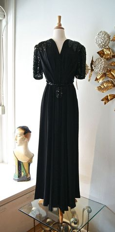 40s Dress / Vintage 1940s Rayon Evening Gown With by xtabayvintage