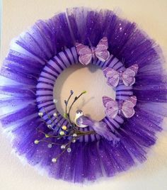 Items similar to Purple Spring Tulle Wreath on Etsy Tulle Projects, Tulle Crafts, Wreath Crafts, Diy Wreath, Wreath Ideas, Tulle Wreath Tutorial, Easter Wreaths, Holiday Wreaths, Easter Crafts