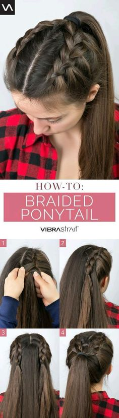 Here's a cute and simple braided ponytail! Ingrown Hair, Emo Hair, Braid Ponytail, Braided Ponytail Hairstyles, Short Hair Updo, Curly Hair Styles, Twist Braids, Semi Formal Hairstyles, Simple Hairstyles