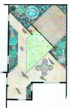 Een strak ontwerp met rechte lijnen, deze tuin op het Noorden. Zonnen kan achterin op het houten terras. Door de schuine lijnen lijkt de tuin breder. Twee eenvoudige pergola's langs het terras en het pad achterin geven extra diepte aan de tuin. De uitgekiende beplanting verzacht de scherpe lijnen.