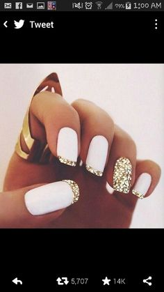 White Matte Polish Gold Glitter French Tips Nail Design By This Puts Creative Twist On The Classic Manicure