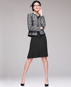 Kasper Collarless Houndstooth Jacket