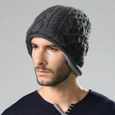 Winter cable beanie hat for men warm knit hats with ear flap