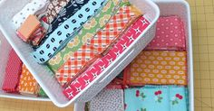 Bee In My Bonnet: From my Quilty Studio.How I Save My Fabric Scraps.and All About Leaders and Enders! She has a great idea. My scraps get so disorganized, no matter what method I use, but cutting the squares or strips and stacking would be ideal. Organizing Fabric Scraps, Organize Fabric, Sewing Room Organization, Sewing Room Storage, Fabric Storage, Fabric Boxes, Fabric Basket, Scrap Fabric, Quilting Tips