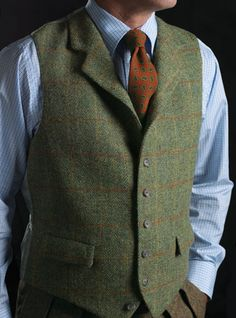 Harris Tweed Windowpane Waistcoat in Green & Orange