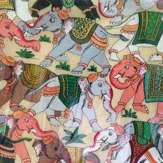Elephants - Pattachitra on Silk