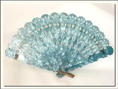 1920's Antique Marbled Blue Celluloid Fan