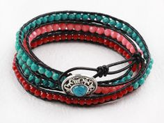 Handmade 34mm red pink coral blue turquoise faceted by touchlove, $15.00