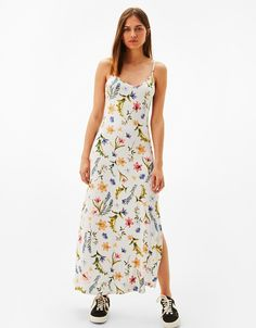 Floral Print Maxi Dress from Bershka Estilo Lady Like, Vestidos Halter, Floral Print Maxi Dress, Costume, Dress Collection, Fashion Brand, Street Wear, Dress Up, Summer Dresses