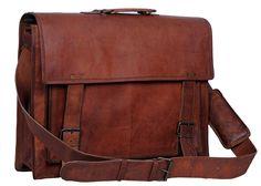 RK 18 Inch Retro Goat Hunter Leather Laptop Messenger Bag Office Briefcase  College Bag    293ef97135