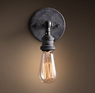 20th C. Factory Filament Bare Bulb Sconce - Weathered Zinc