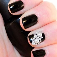 pear nail glam im in love with this...perfect for a black tie or fancy affair