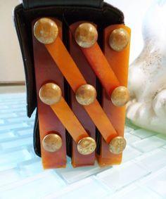 OUTSTANDING Vintage Orange Bakelite Accordion Folding Purse 3 Compartments 18 Brass Joints Comb Black Leather