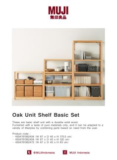 Oak unit shelf basic. Available in large, medium & small size. Can be adapted to variety of lifestyle based on need.