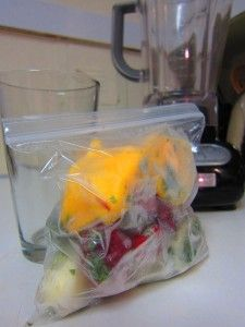 Green smoothie bags... pre-portioned frozen fruits and veggies, just dump it in the blender for a healthy breakfast! This would be great frozen in mason jars, you could blend it and then pour it back into the jar for a smoothie on the go.