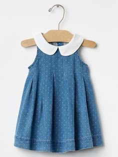 1969 round collar chambray dress from GAP Frock Design, Trendy Baby Clothes, Baby Clothes Shops, Baby Girl Romper, Little Girl Dresses, Baby Outfits, Kids Outfits, Romper Dress, Dress Clothes