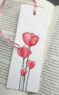 Discover recipes, home ideas, style inspiration and other ideas to try. Creative Bookmarks, Paper Bookmarks, Watercolor Bookmarks, Watercolor Cards, Watercolor Flowers, Corner Bookmarks, Watercolor Paintings For Beginners, Bookmark Craft, Handmade Books