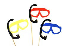 Summer Photo Booth Prop Set - Set of 3 Swim Goggles with Snorkles - Birthdays, Weddings, Parties - Fun Photobooth Props. $12.00, via Etsy.