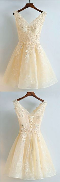 Pretty A-Line Beading Lace Short Homecoming Dress,Homecoming Dresses
