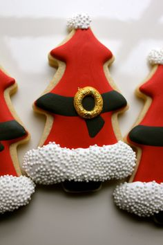 Santa Cookies made with a Christmas Tree Cookie cutter