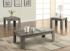 Simple yet strong occasional table set, finished in weathered brown and feature floating table top. Dimensions: Coffee Table x x End Table x x Coffee Table End Table Set, Grey Wood Coffee Table, Modern Coffee Table Sets, Pc Table, End Table Sets, Coffee Set, Console Table, Dining Bench, Living Room Table Sets
