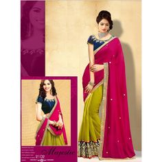 Designer Nakkashi Pink and Lime Yellow Georgette Saree - Buy Nakkashi Pink and Lime Yellow Georgette Saree Online at Best Prices in India | Vendorvilla.com at just Rs.1699/- on www.vendorvilla.com. Cash on Delivery, Easy Returns, Lowest Price.