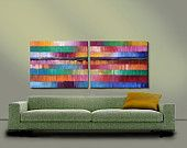 ORIGINAL PAINTING Large Abstract Magenta 2 Panel 24X60 Diptych Wall Art By Thomas John