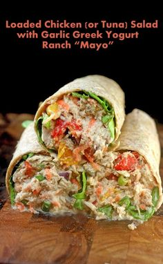 "Loaded Chicken Salad Sandwich with Garlic Greek Yogurt Ranch ""Mayo"" Lunch Recipes, Dinner Recipes, Cooking Recipes, Cooking Rice, Healthy Snacks, Healthy Eating, Healthy Recipes, Greek Yogurt Ranch, Greek Yogurt Mayo Recipe"