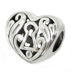 KEYHOLE ON HEART European Charm Bead 925 Sterling Silver Fits Trollbeads Chamillia Biagi & All Popular Brands of Charm Bracelets. $17.99, via Etsy.
