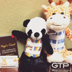Penny the Panda & George the Giraffe hanging out at @scoli_academy!! :) They love it in Cali!  Check out all if their friends @ www.higgybears.etsy.com  #Scoliosis #backbrace #spinalfusion