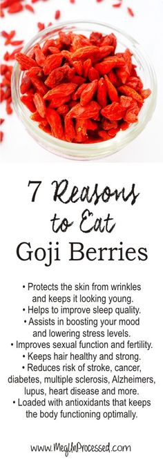 "7 Benefits of Eating Goji Berries! Goji berries are also called the ""happy berry"" as they also boost emotional health. They ease stress, anxiety and depression, as well as promote positivity and calmness. If you are suffering from insomnia, goji berries may be your go-to snack. They improve the quality of sleep and keep you energized for the day! Even athletes snack on them to strengthen the legs and boost overall performance. Find out more!"