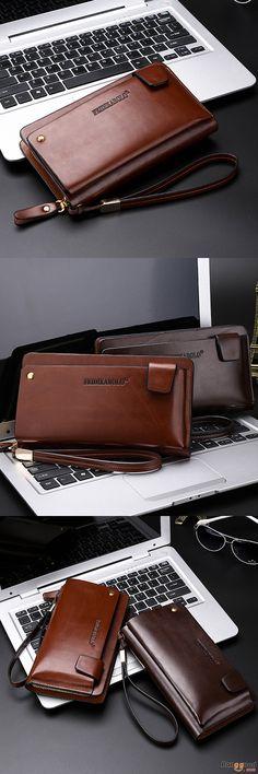 Men's Bag, Business Bag. Leather Clutch Bags, Leather Wallet, Handbags For Men, Messenger Bag Men, Fashion Bags, Fashion Handbags, Casual Bags, Dark Brown, Small Leather Goods