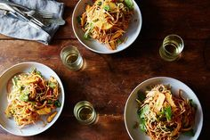 Jaengban Guksu (Korean-style Soba Noodles with Spicy Dressing) - collards, kale, mustard, spinach, carrots, bell peppers, cucumber, snap peas, snow peas, cilantro recipe on Food52