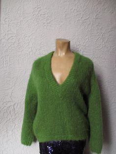 50s Green Aqua Mohair V Neck Shaggy Hand Knit Sweater x9pxT