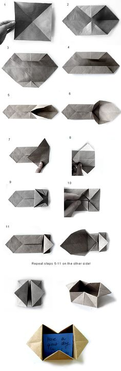 More origami how to. Reminds me to find and post the best Origami book I know. Watch for the pin. Envelope Origami, Box Origami, Origami And Kirigami, Origami Paper Art, Oragami, Diy Paper, Paper Crafts, Dollar Origami, Origami Bookmark
