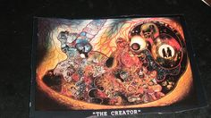 The Creator done in the late 60's oil on canvas, measures 8feetx10feet. A fetus with all the different aspects of life inside of the fetus done in style of a puzzle.