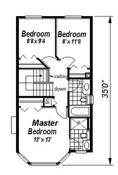 Second Floor Plan of Country Victorian House Plan 57486