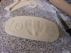 Baby Art Footprint Salt Dough Ideas For 2019 Salt Dough Projects, Salt Dough Crafts, Salt Dough Ornaments, Salt Dough Handprints, Baby Crafts, Toddler Crafts, Crafts To Do, Crafts For Kids, Rose Crafts