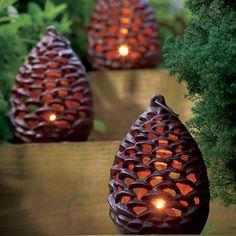 pinecone tealight lanterns via Monticello the shop 🌹 ᘡℓvᘠ❉ღϠ₡ღ✻↞❁✦彡●⊱❊⊰✦❁ ڿڰۣ❁ ℓα-ℓα-ℓα вσηηє νιє ♡༺✿༻♡·✳︎· ❀‿ ❀ ·✳︎· TH NOV 2016 ✨ gυяυ ✤ॐ ✧⚜✧ ❦♥⭐♢∘❃♦♡❊ нανє α ηι¢є ∂αу ❊ღ༺✿༻✨♥♫ ~*~ ♪ ♥✫❁✦⊱❊⊰●彡✦❁↠ ஜℓvஜ 🌹 Tea Light Lanterns, Garden Lanterns, Lanterns Decor, Candle Lanterns, Tea Lights, Lantern Crafts, Candleholders, Ceramic Lantern, Ceramic Art